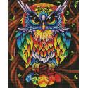 Сова графичная. Цвет радуга Алмазная мозаика вышивка на подрамнике GF4515