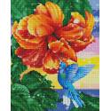 Колибри у прекрасного цветка Алмазная мозаика вышивка на подрамнике GF4699