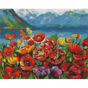 Маки на фоне гор Алмазная мозаика вышивка на подрамнике GF4698