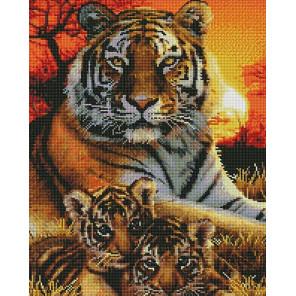 Тигриная семья Алмазная мозаика вышивка на подрамнике GF4677