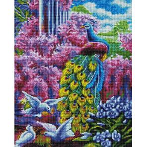 Павлин в саду Алмазная мозаика вышивка на подрамнике GF4433