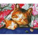 Семейка кошек Алмазная мозаика вышивка на подрамнике GF4385
