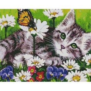 Котик на лугу Алмазная мозаика вышивка на подрамнике GF4378