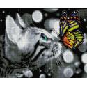 Дружба котика с бабочкой Алмазная мозаика вышивка на подрамнике GF4648