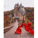 Девушка у замка Раскраска картина по номерам на холсте GX38262