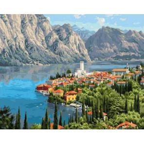 Городок у моря 40х50 см Раскраска картина по номерам на холсте PK90033