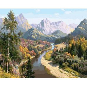 Осень в горах 40х50 см Раскраска картина по номерам на холсте PK90013