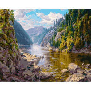 Горная речка 40х50 см Раскраска картина по номерам на холсте PK90008