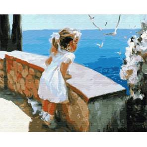 Девочка на набережной Раскраска картина по номерам на холсте GX8102