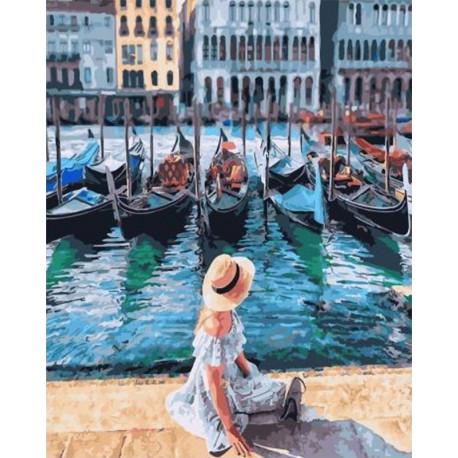 На причале в Венеции Раскраска картина по номерам на холсте GX30392