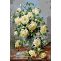 Белые розы 20х30 см Раскраска картина по номерам на холсте CX4264