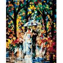 Свадьба под дождем Раскраска по номерам на холсте Живопись по номерам
