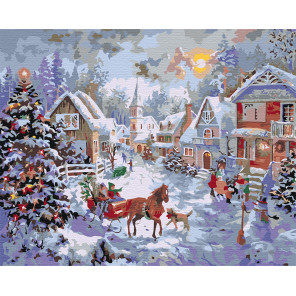 Праздничная деревня Раскраска по номерам на холсте Живопись по номерам