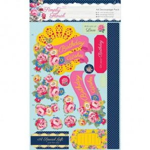 Яркие цветы Simply Floral Набор бумаги и высеченных элементов для скрапбукинга, кардмейкинга Docrafts