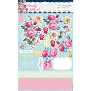 Пастельные цветы Simply Floral Набор бумаги и высеченных элементов для скрапбукинга, кардмейкинга Docrafts