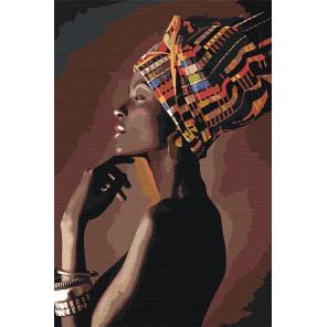 Портрет африканки в профиль 80х120 Раскраска картина по номерам на холсте