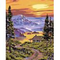 Закат над горным озером Раскраска по номерам на холсте Живопись по номерам PP03