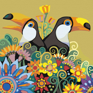 Раскладка Туканы в цветах Раскраска картина по номерам на холсте A92