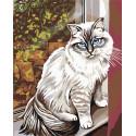Кошка на крылечке Раскраска картина по номерам на холсте A111