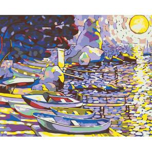 Лодки под луной Раскраска картина по номерам на холсте RA056