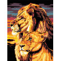 Лев с львицей Раскраска по номерам акриловыми красками на холсте Живопись по номерам