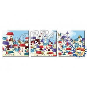 Волшебный город Триптих раскраски по номерам на холсте Hobbart PH340120034-LITE