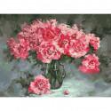 Розовые пионы Раскраска картина по номерам на холсте 375-AS