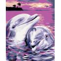 Нежность дельфинов Раскраска по номерам на холсте Живопись по номерам KTMK-132381