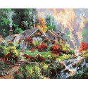Домик в горах Раскраска картина по номерам на холсте GX38759