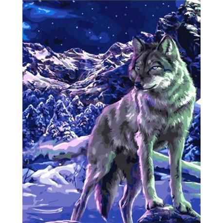 Волк в ночи Раскраска картина по номерам на холсте GX38477