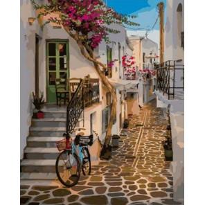 Улочки Греции Раскраска картина по номерам на холсте GX38422