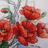 Пример вышитой работы Пламенные цветы Набор для вышивания МП Студия А-037