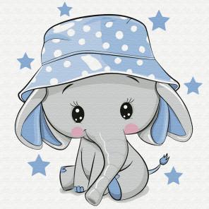 Слонёнок в панамке Раскраска картина по номерам на холсте KH0846
