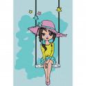 Девочка на качелях Раскраска картина по номерам на холсте KHM0023