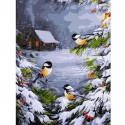 Зимний лес Раскраска картина по номерам на холсте KK0651