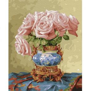 Восточное розы Раскраска картина по номерам на холсте KH0668