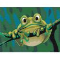 Яркий лягушонок 75х100 см Раскраска картина по номерам на холсте с неоновыми красками AAAA-RS051-75x100