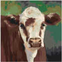 Корова буренка 80х80 Раскраска картина по номерам на холсте