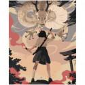 Девочка с катаной аниме Раскраска картина по номерам на холсте