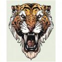 Морда тигра 80х100 Раскраска картина по номерам на холсте