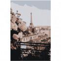 Вид из окна на Эйфелеву башню 80х120 Раскраска картина по номерам на холсте