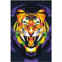 Тигр неоновый 100х150 Раскраска картина по номерам на холсте