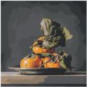Натюрморт с фруктами Хурма 80х80 Раскраска картина по номерам на холсте