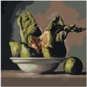 Зеленый натюрморт с фруктами 80х80 Раскраска картина по номерам на холсте