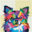 Разноцветная неоновая собачка 80х80 Раскраска картина по номерам на холсте