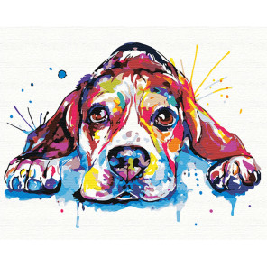 Веселый радужный щенок 80х100 см Раскраска картина по номерам на холсте с неоновыми красками AAAA-RS076-80x100
