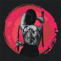 Девушка с татуировкой дракона/ Катана 100х100 см Раскраска картина по номерам на холсте с неоновыми красками AAAA-RS063-100x100