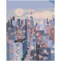 Небоскребы городской пейзаж Раскраска картина по номерам на холсте