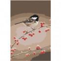 Птичка на ветке с ягодами 80х120 Раскраска картина по номерам на холсте