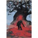 Ведьмак у дерева Раскраска картина по номерам на холсте